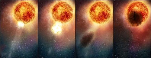 "Illustration showing Betelgeuse ""sneezing"" during which the star ejecting hot gas"